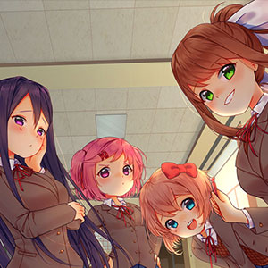 An illustration created as tribute to the game Doki Doki Literature Club, created by Team Salvato. Features all 4 characters, Monika, Yuri, Sayori, and Natsuki.
