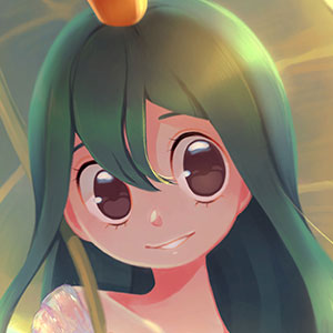 A warm and inviting portrait of Tsuyu Asui from Boku no Hero Academia as a frog princess.