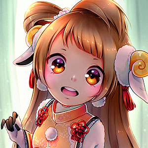 Minami Kotori, one of the main characters in the series Love Live!, dressed in her New Year's zodiac sheep outfit from the game School Idol Festival.