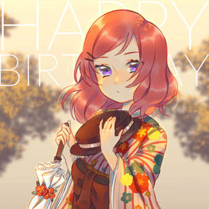 A birthday drawing for Nishikino Maki, featuring her in her Taisho Romance outfit.