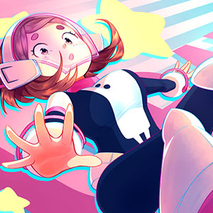A piece bursting with colour and an interesting perspective! My tribute to Uraraka Ochako from the anime series